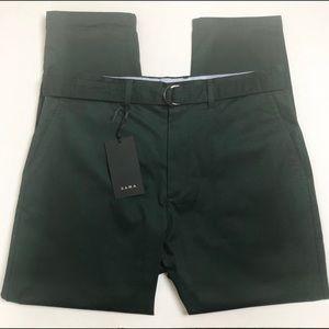 NWT Zara Mens Green Loose Slim Leg Pants 32